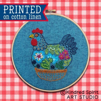 Hen Hand Embroidery Kit  - Build your kit option - with hoop, without hoop or fabric print only