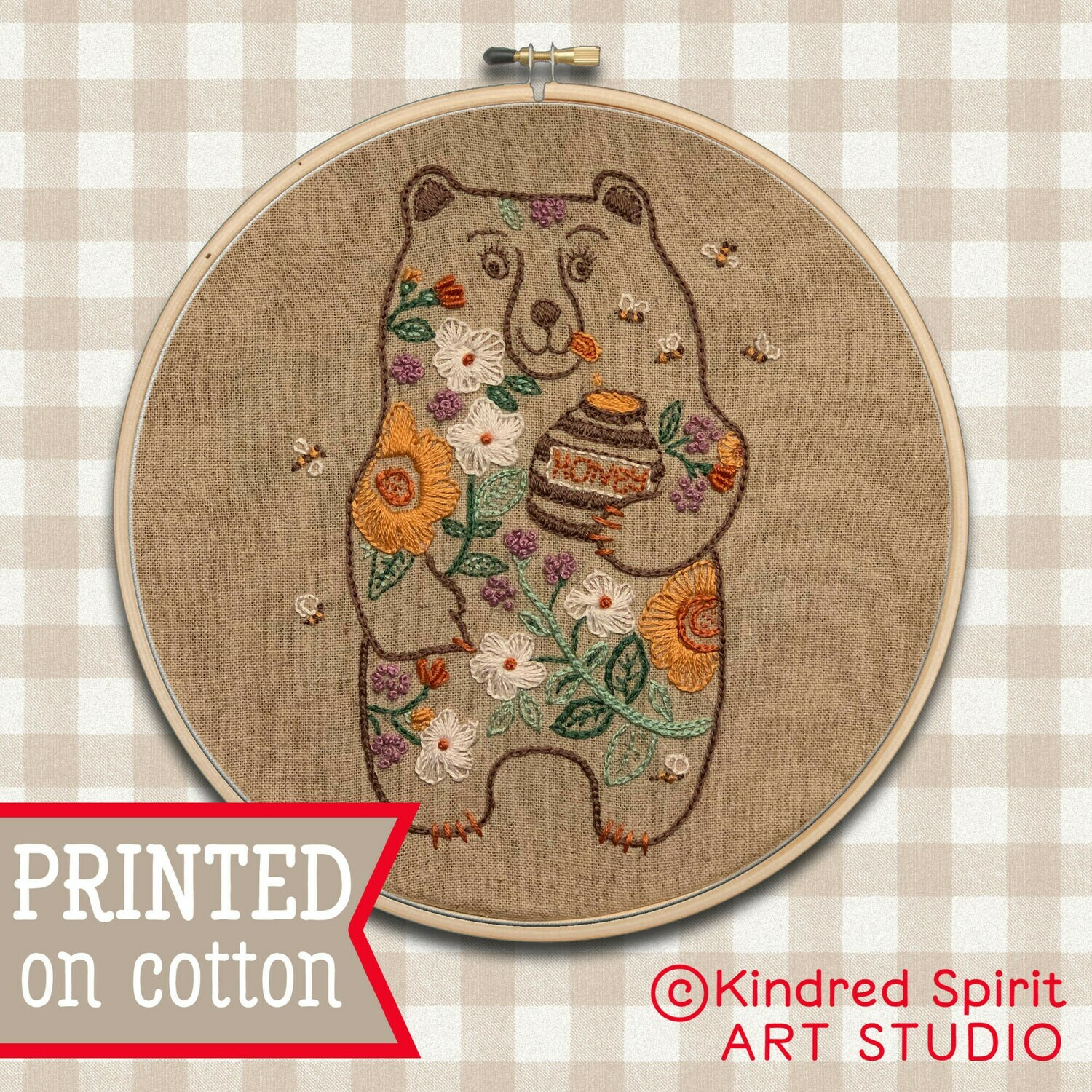 Honey Bear Hand Embroidery Kit  - Build your kit option - with hoop, without hoop or fabric print only