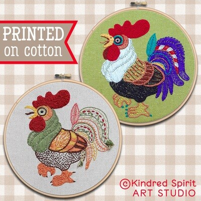 Rooster Hand Embroidery Kit  - Build your kit option - with hoop, without hoop or fabric print only