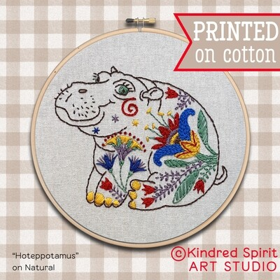Hippopotamus Hand Embroidery Kit  - Sustainable Gift
