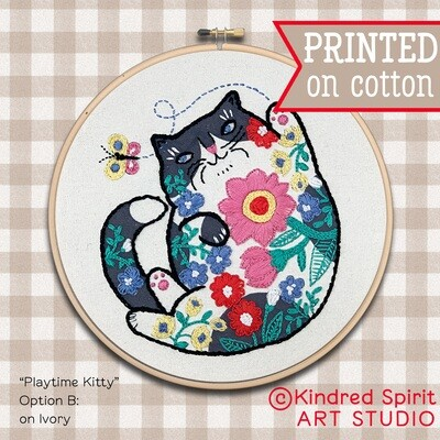 Cat Hand Embroidery Kit  - Build your kit option - with hoop, without hoop or fabric print only