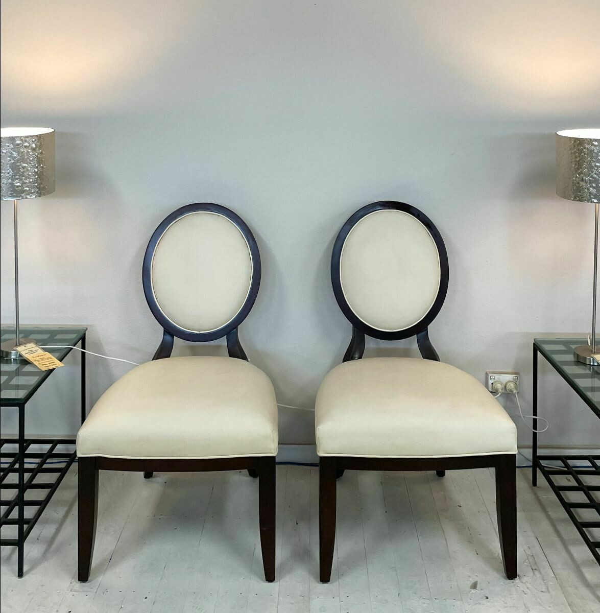 Centra Side Chair (pair) - in Wenge with cream chinaux leather