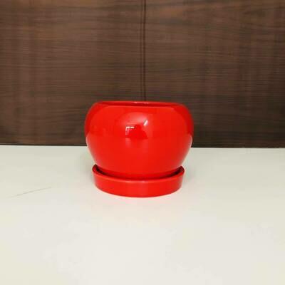 Apple Ceramic Pot With Saucer