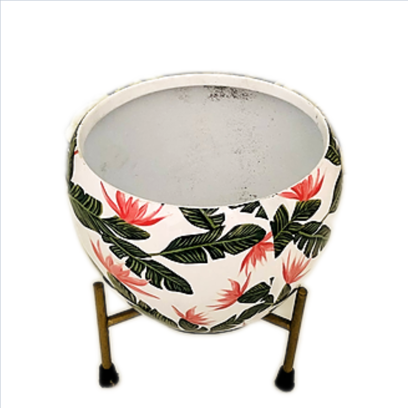 Metal Flower Round Pot with Stand