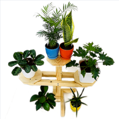 3 Compartment Wooden stand | Multipurpose Stand | Hexa Base | Indoor Stand