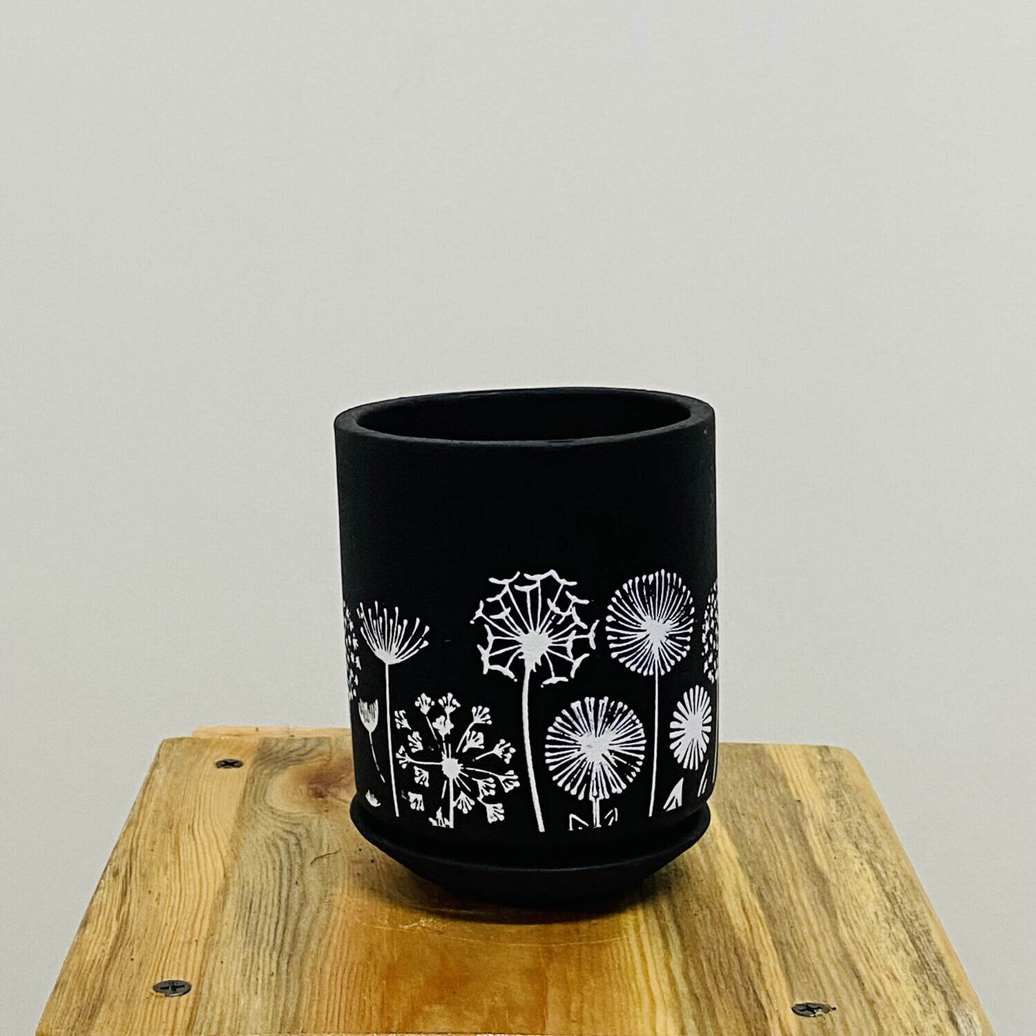 Terracotta - Black Printed Series - Cylinder Pot with Saucer
