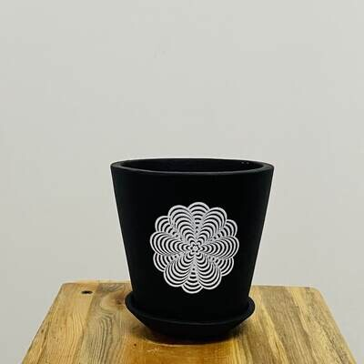 Terracotta - Black Printed Series -Single Cup pot with Saucer