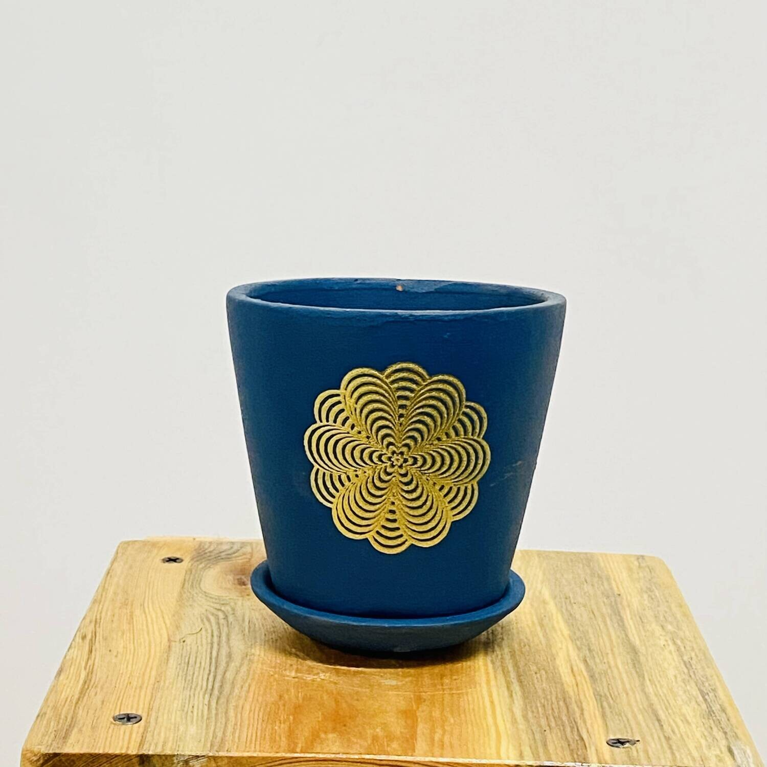 Terracotta - Blue Printed Series -Single Cup pot with Saucer