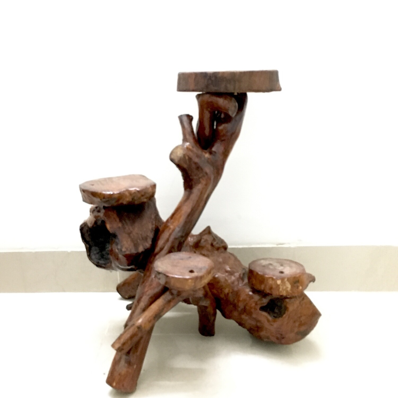 Indoor Coffee Wood 4 Pots Table- Height 2 Feet