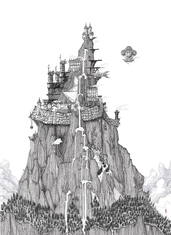 The Mountain City Art Print: Large