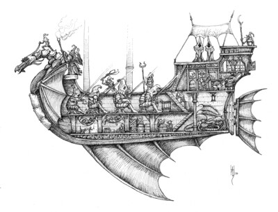 Dragon Ship Art Print