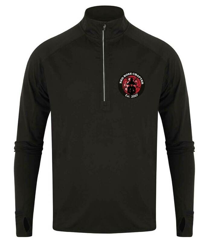 Red Rose Chapter Long Sleeve Zip Neck Performance top