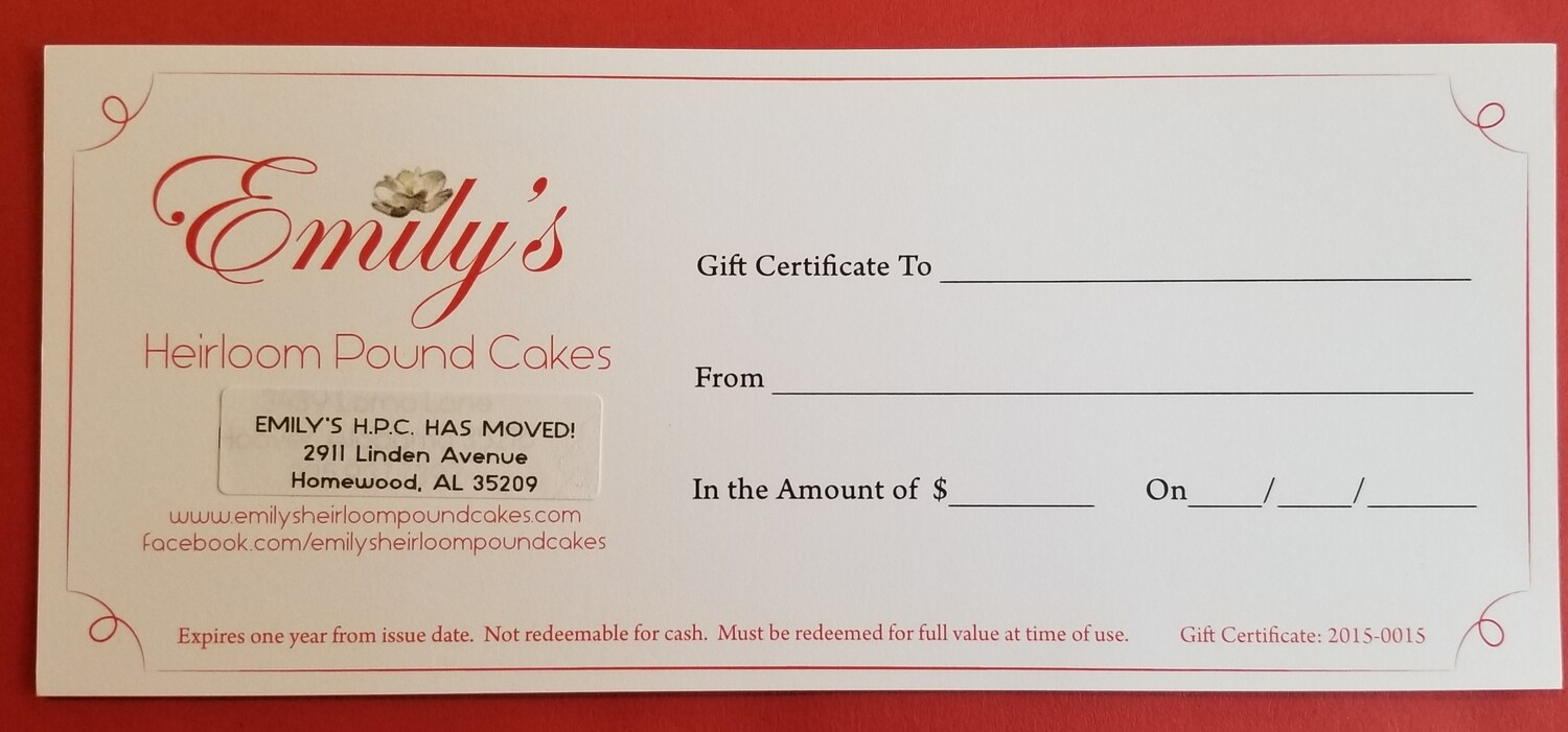 Gift Certificate - Increments of $25