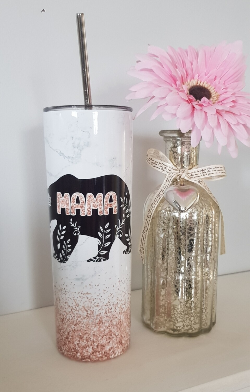 Mama Bear marble Effect 20oz Stainless Steel Skinny Tumbler/Travel Mug