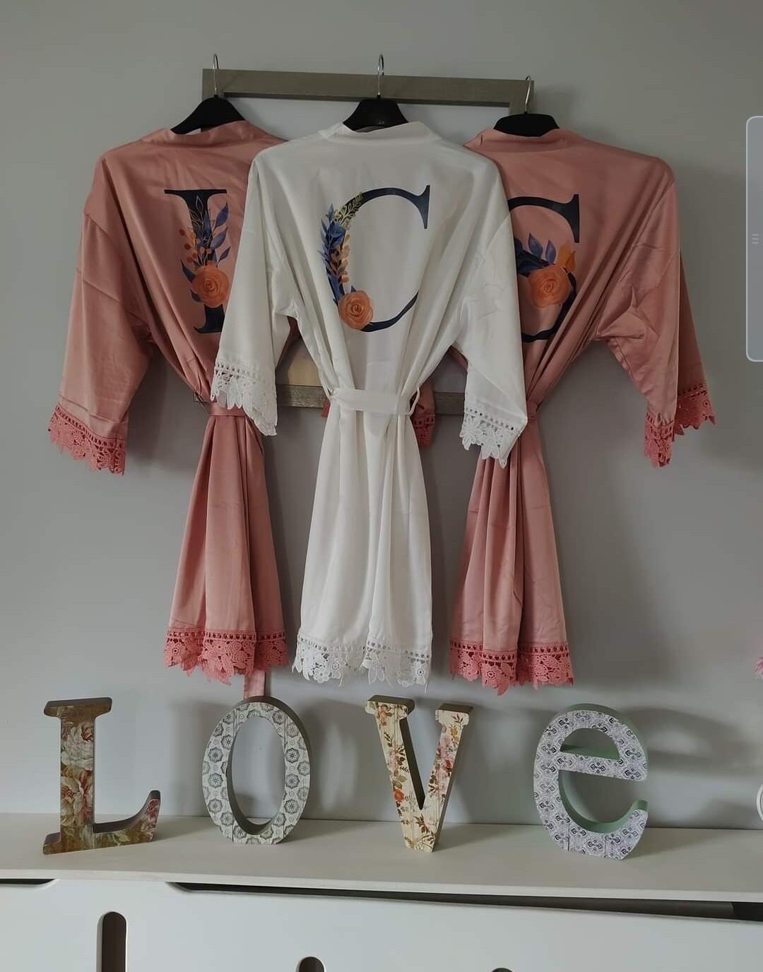 Printed design satin robes