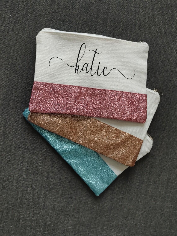 Glitter Canvas Make Up Bag (Various Colors)