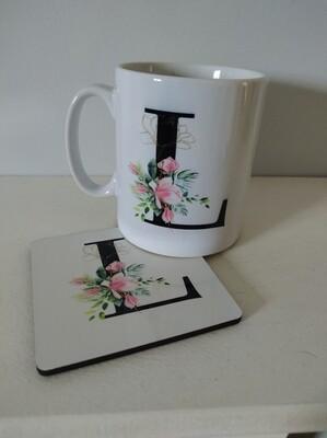 Floral Initial Mug And Coaster Set