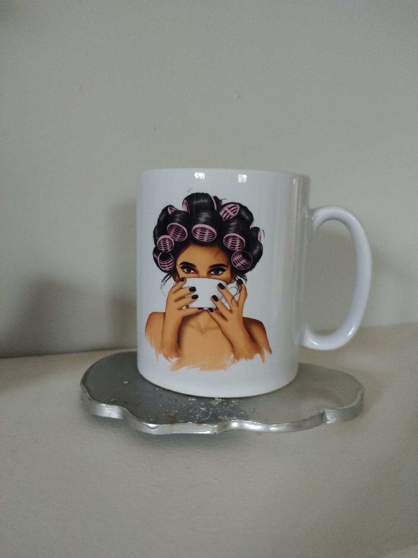 Curls And Coffee Mug (dark hair)