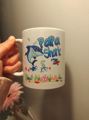 Papa Shark Style Father's Day Mug
