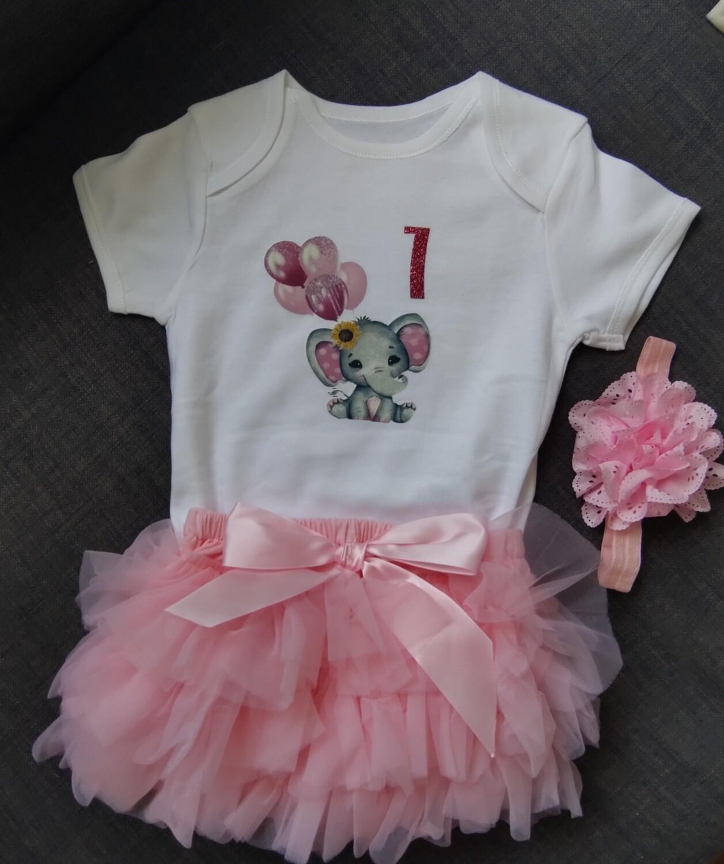 1st Birthday Pink Elephant Top