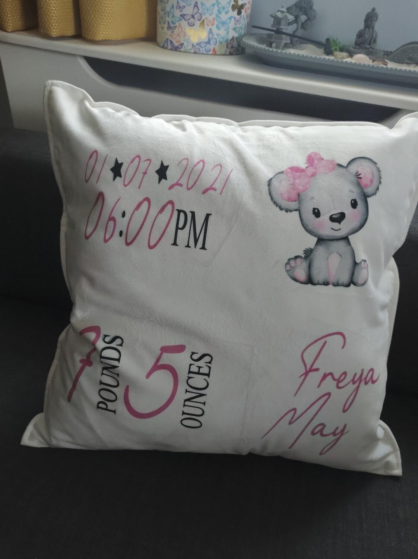 Baby birth stats cushion