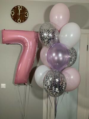 Композиция из воздушных шаров на 7 лет.