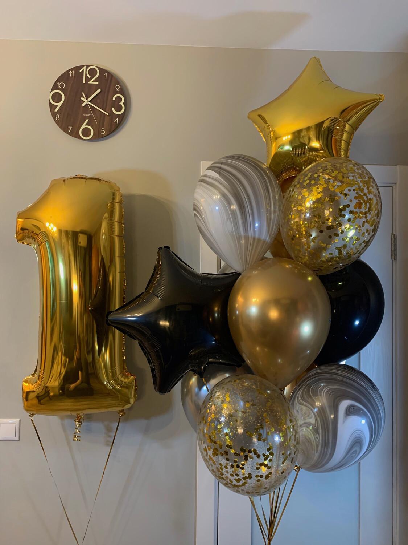 Композиция из воздушных шаров на один годик.