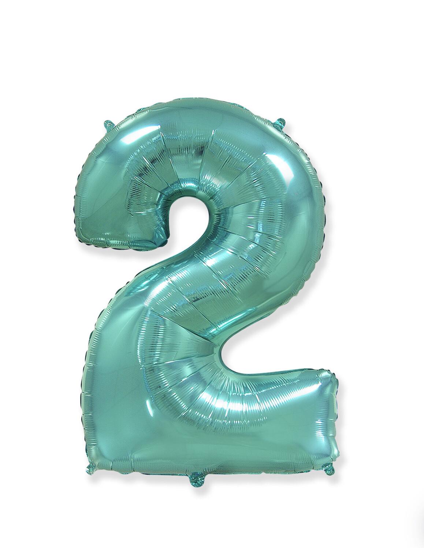 Фольгированный воздушный шар в виде цифры «2» 102 см