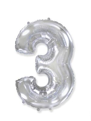 Фольгированный воздушный шар в виде цифры «3» 102 см