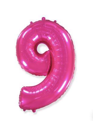 Фольгированный воздушный шар в виде цифры «9» 102 см