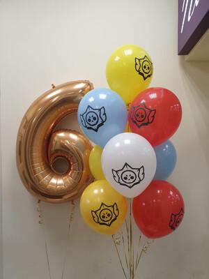 Композиция из воздушных шаров с рисунком на 6 лет.