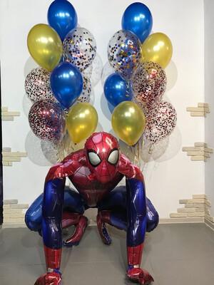Композиция из воздушных шаров с фигурой человека паука в центре.