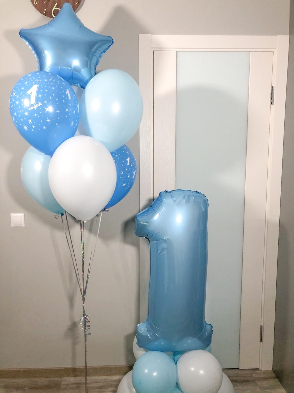 Композиция из воздушных шаров на 1 годик.