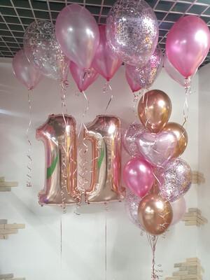Композиция из воздушных шаров на 11 лет.
