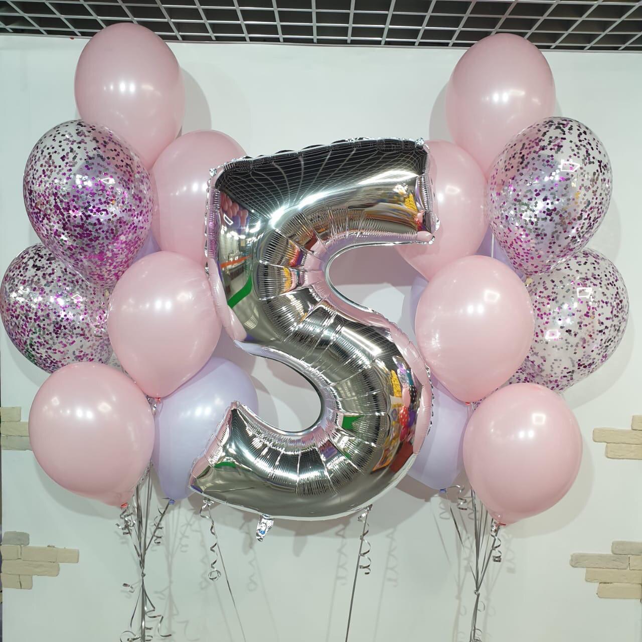 Композиция из воздушных шаров на 5 лет.