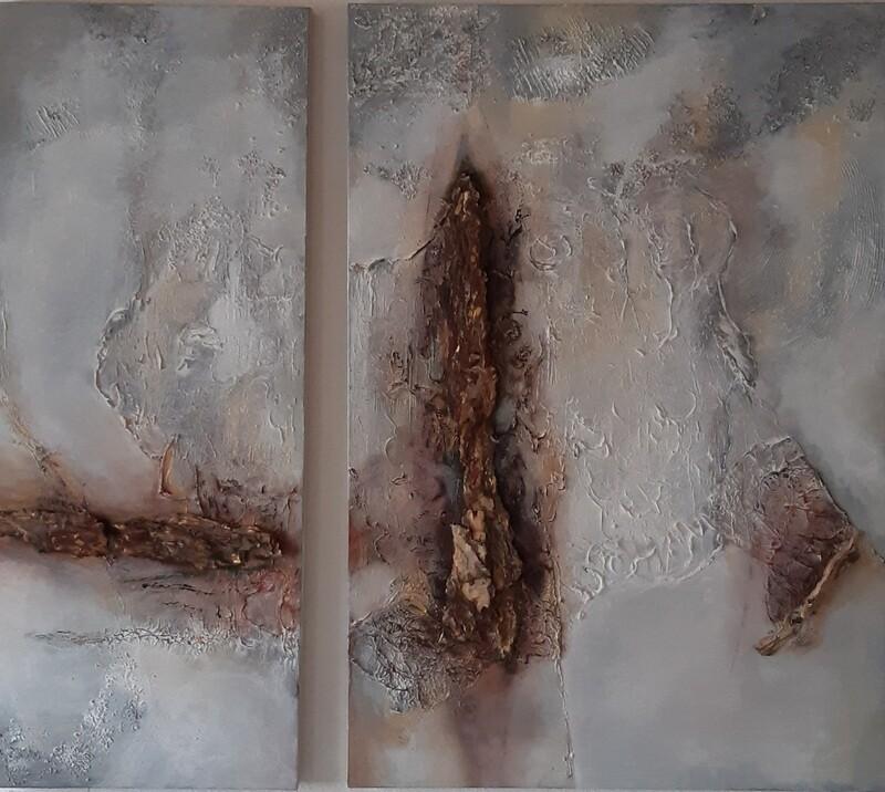 Modernes Leinwandbild mit Baumrinde