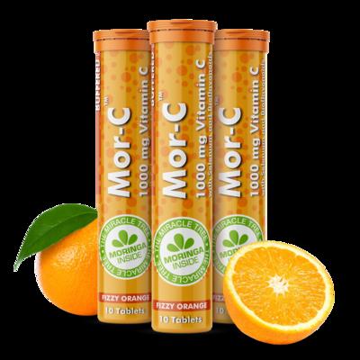 Mor-C Fizzy Tabs | Orange flavor | 10 Effervescent tabs