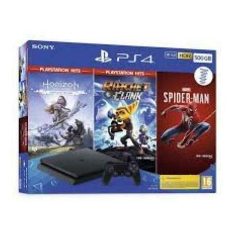 SONY PS4 SLIM 500GB + HORIZON ZERO DAWN COMPLETE EDITION + RATCHET & CLANK + MARVEL'S SPIDER-MAN EUROPA