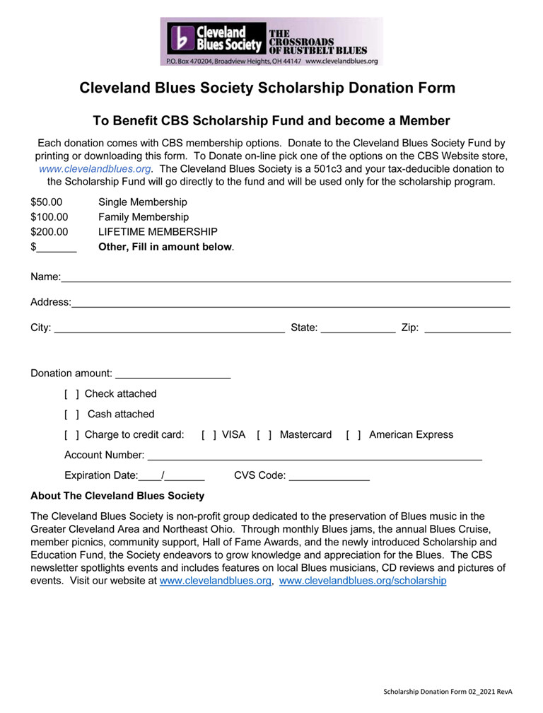 CBS Scholarship Donation Form, see levels below