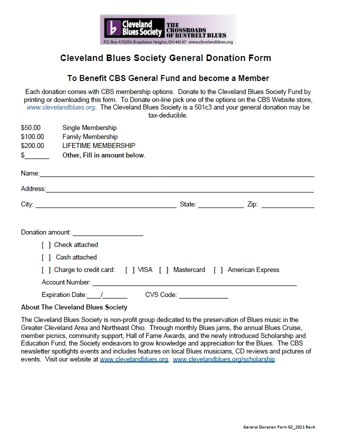 CBS General Donation Form, see levels below
