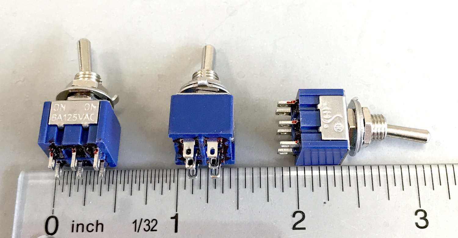 5 pack On/Off/On DPDT Center Off Toggle Switch