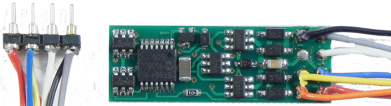 N14SRP, narrow generic decoder, 1 Amp, 4 functions, NMRA 8 pin plug