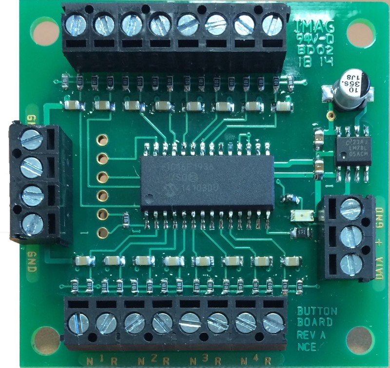 Button-Board.  Local push button add-on for Switch8-Mk2