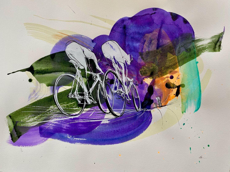 Tour de France silk screen print 7/30 56cm x 76cm.