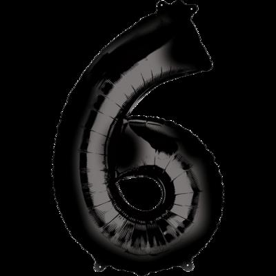 Globo Número 6 Metálico Negro