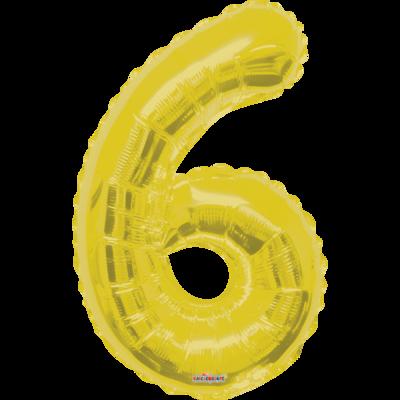 Globo Número 6 Metálico Oro