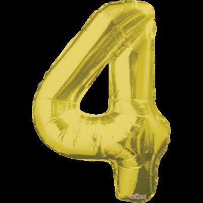 Globo Número 4 Metálico Oro