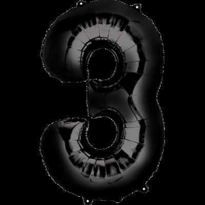 Globo Número 3 Metálico Negro
