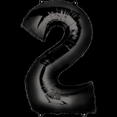 Globo Número 2 Metálico Negro