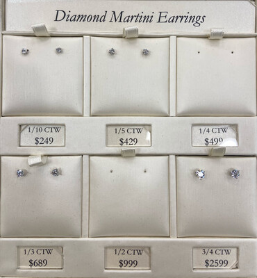 Diamond Martini Stud Earrings